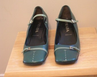 Prada shoes - Green Mary Janes  - Low Heel Strap Women's Shoes. Size 39