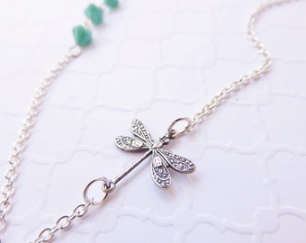 Silver Dragonfly Necklace - Flower Necklace, Asymmetrical Necklace, Turquoise Dragonfly Jewelry, Unique Jewelry, Bohemian Jewelry, Dainty