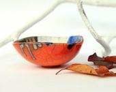 raku ceramic bowl geometric, decorative orange ring holder