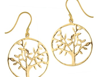 Earrings about tree of life branched brass brass antique golden tribal earrings nickel free