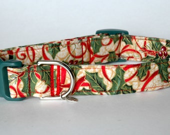 "Handmade Christmas Holly Design Dog Collar ""New"""