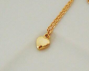 439.Simple, Tiny, Heart pendant Necklace ,Convex Heart pendant Necklace.