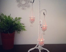 Light fixture. Lanterns macrame table lights. Reclaimed hand crafted art. Romantic bedroom design.  Portable Candles