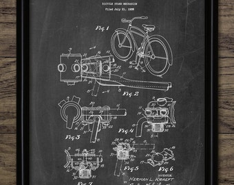 Bicycle Stand Patent Print - 1940 Bicycle Stand Design - Vintage Bicycle Wall Art - Cycling Equipment - Single Print #1506 -INSTANT DOWNLOAD