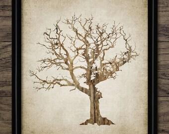 Tree Print - Tree Wood Decor - Tree Art Illustration - Tree Design - Printable Art - Single Print #553 - INSTANT DOWNLOAD