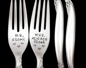 Mr and Mrs Wedding Forks, Mr Right and Mrs Always Right Something Old Stamped Fork Engagement Gift Engraved Dinner Forks  Wedding Silverware