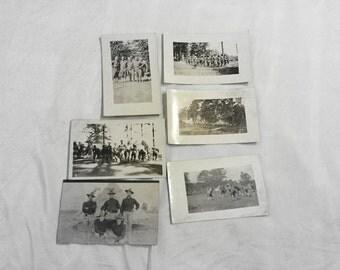 6 World War 1 Real Photo Postcard Soldiers AZO RPPC Football Teams Playing