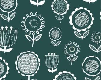 Cotton Fat Quarter Dashwood Fabrics Annali Flowers in Petrol Blue