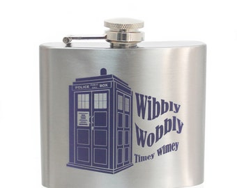 Dr Who Tardis Wibbly Wobbly Timey Wimey Flask - 5oz