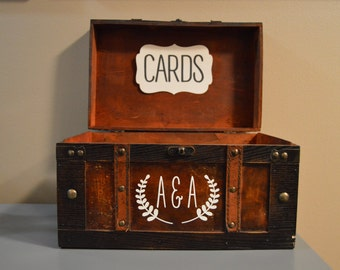 Rustic Wedding Card Box Holder, Rustic Gift Card Box with initials, Rustic Trunk Wedding Box with Custom Initials G1G