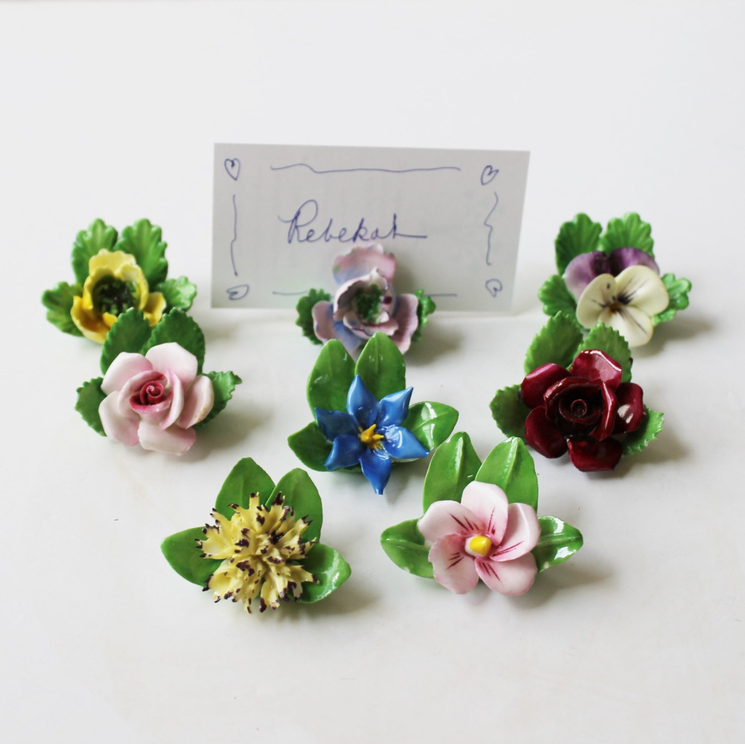 Blue Flower Place Card Holders 77