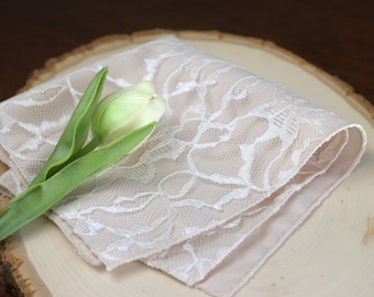 Pocket Square in Champagne and Ivory - Ivory Pocket Square - Handkerchief - Champagne Pocket Square - Wedding Pocket Square - Hanky
