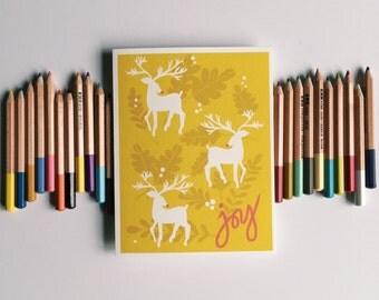 Joy Folk Art Christmas Card