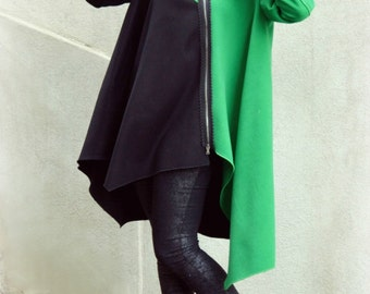 Asymmetrical Wool Hooded Coat TC63, Color Block Black and Green Coat