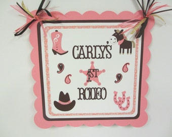 Cowgirl Western Door Welcome Sign Birthday Party Shower Horse Pony Rodeo Pink Brown
