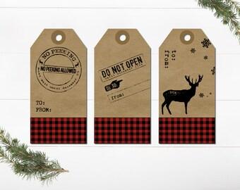Rustic Christmas Gift Tags - Buffalo Plaid Christmas Gift Tags -  Christmas Gift Wrapping Tags - Printable Christmas Tags -Download