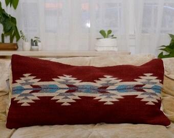 Handwoven Wool Pillow Cover/ Fair Trade Pillow Cover/ Boho Chic Home Decor/ Tribal Print Pillow/ Red Wool Pillow Cover/ Lumbar Pillow Cover