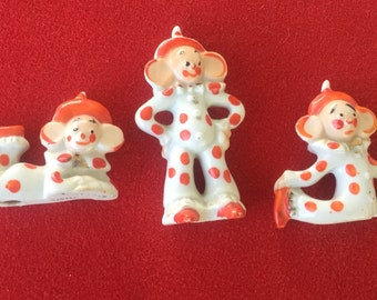 Vintage orange polka dot acrobat clown figurines Japan
