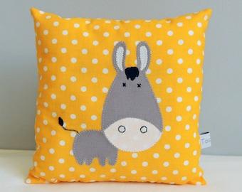 CUSTOM - Mini child deco cushion - grey donkey-yellow