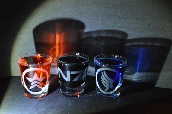 Mass Effect etched shot glass set of 3 fan art