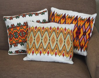 Boho Chic Embroidered Pillow Covers, Set of 3 Vintage Bohemian Throw Pillows