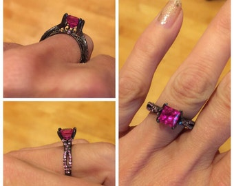 Black Gold Engagement Ring 14kt Black Gold Rhodium Princess Cut Pink Sapphire Center and Round Pink Sapphire Sides Vintage Style Ring