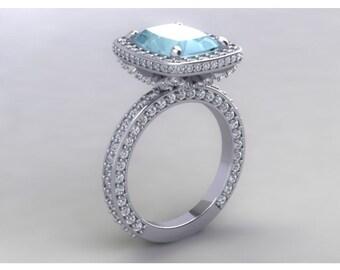 Aquamarine Engagement Ring 2.80ct Long Cushion Cut Aquamarine 1.40ct Natural Diamonds Halo Wedding Ring White Gold  Pristine Custom Rings