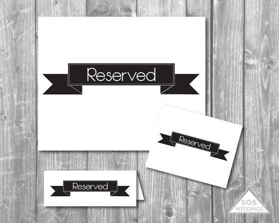Black Banner Reserved Signs Seating Wedding