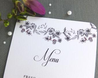 Floral Garland Wedding Menu Sample