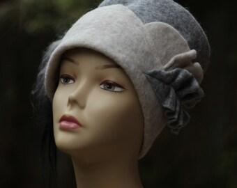 Handmade Felt hats Winter Hat Unique Felt Hats Millinery hat Womens hats trendy, winter fashion,llama fur, Women's Felt  Hat Wearable art