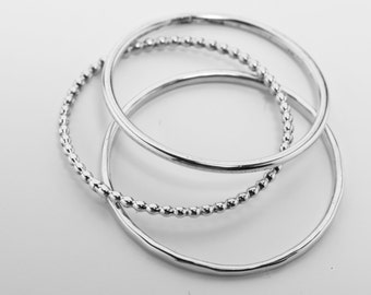 Slim stacking rings made of silver 1.0 mm thick