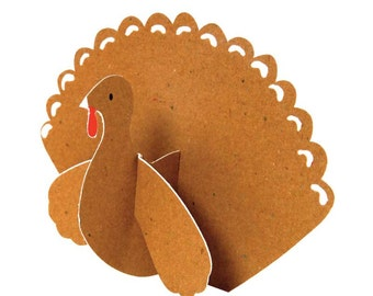 Turkey Place Cards (10), Meri Meri Kraft Paper Turkey Placecards, Thanksgiving Table Decorations, Thanksgiving Turkey Kids Table Decor