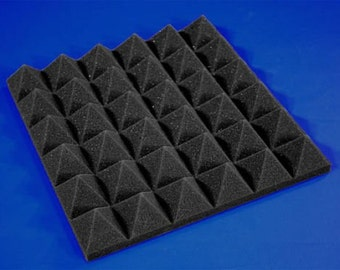 "Acoustic Foam (6 Pack Kit) - Pyramid 2"" 24"" x 48"" covers 48sq Ft - Sound Proofing/Blocking/Absorbing Acoustical Foam - Made in the USA!"