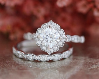 Forever One Moissanite Engagement Ring and Scalloped Diamond Wedding Band Bridal Set 14k White Gold 6x6mm Cushion Mini Vintage Floral Ring