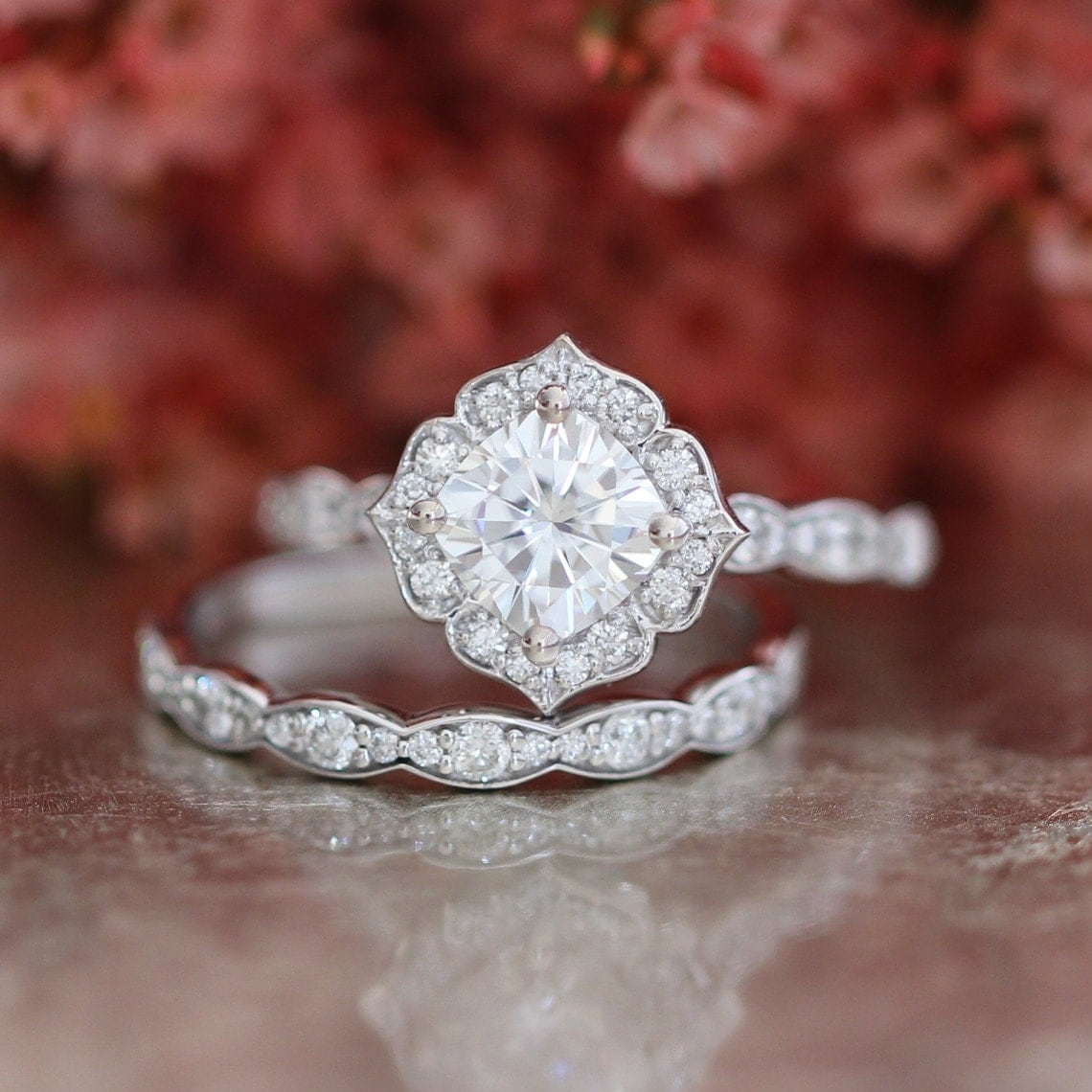 zoomForever One Moissanite Engagement Ring and Scalloped Diamond. Etsy Vintage Wedding Rings. Home Design Ideas