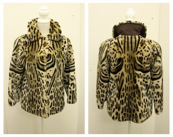 AWESOME 1950's Faux Fur Ocelot Print Cropped Swing Coat