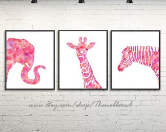 Pink nursery animal print, elephant, zebra, giraffe, girl room decor, safri nursery, jungle nursery, pink wall art, set of 3 prints - H185/7