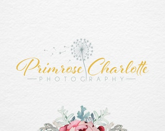 Premade logo , Photography logo and Watermark - Gold Dandelion