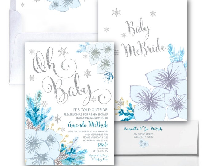 Winter Baby Shower Invitation // Snowflake Baby Shower // Winter Baby Shower //  Blue // Oh Baby // Holiday // Silver // VERMONT COLLECTION