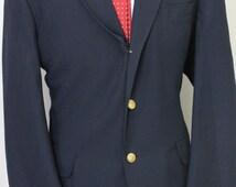 Vintage 44R Orvis Navy Blue Gold Buttons Sport Coat Blazer Jacket