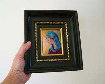Beautiful vintage French Limoges enamel on copper picture of La Vierge (Madonna) by Andre Bureau - Tableau emaillé émaux signé de limoges
