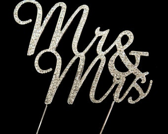 Mr & Mrs Cursive Metal Crystal Cake Topper, 10-1/4-Inch