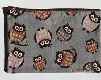 Grey Owl flat pencil case