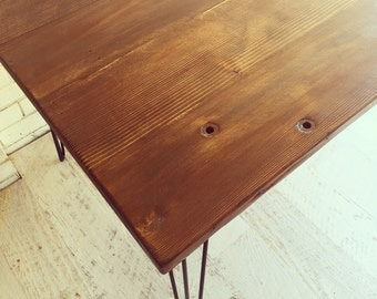 Recycled OREGON dining table with hairpin legs