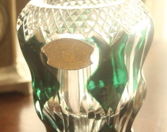 Val Saint Lambert Crystal Vase 1950's Emerald Green overlay Signed with Label
