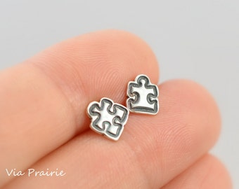 Puzzle piece studs, Puzzle piece earrings, Autism Awareness studs, Tiny stud earrings, 925 sterling silver, Puzzle jewelry, Stud earrings