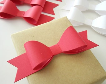 Set of 10 DIY Red & White Christmas Paper Gift Bows