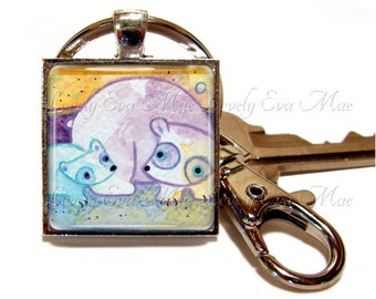 Lauren Alexander, Polar Bear Keychain with Clip, Polar Bear Keyring, Bear Accessories, Watercolors, Key Fob with Clasp, Key Chain, Key ring