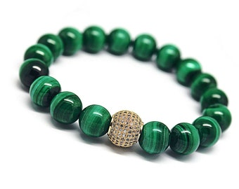 Genuine 8mm Malachite Jewelry, Malachite Stone Jewelry, Green Malachite Stone Bracelet, Malachite Beads Jewelry, Green Bracelet Gift Women