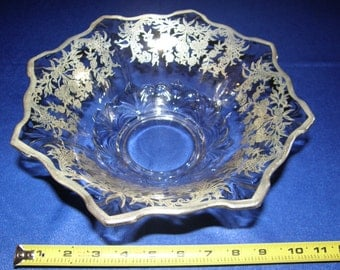 CAMBRIDGE Glass Vintage SILVER OVERLAY Tripod Bowl